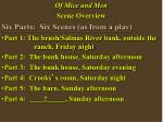 Of Mice and Men Scene Overview Six Parts:  Six Scenes (as from a play)
