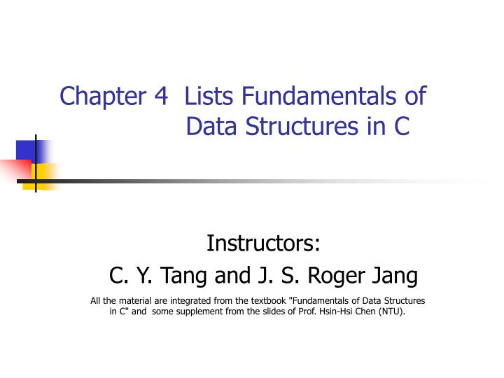 chapter 4 lists fundamentals of data structures in c n.