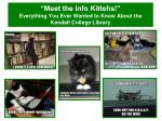 """""""Meet the Info Kittehs!""""  Everything You Ever Wanted to Know About the Kendall College Library"""