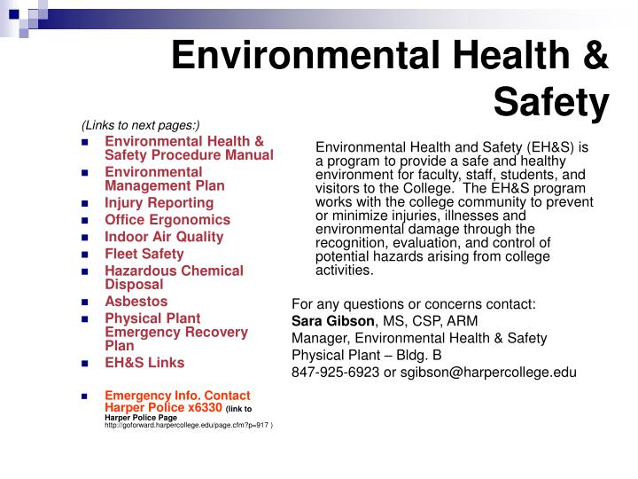 environmental health safety n.