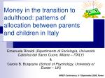 Money in the transition to adulthood: patterns of allocation between parents and children in Italy