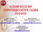 ROUND ROCK ISD CAMPUS/BOOSTER CLUBS 2012-2013