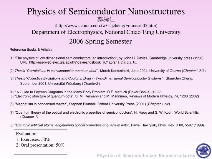 physics of semiconductor nanostructures n.