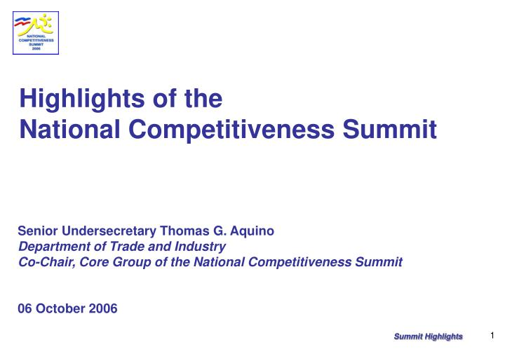 highlights of the national competitiveness summit n.