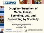 Drugs for Treatment of Mental Illness: Spending, Use, and Prescribing by Specialty