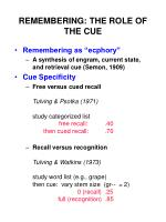 REMEMBERING: THE ROLE OF THE CUE