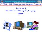 Lesson No: 4  Classification of Computer, Language Memory