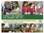 Literacy & Numeracy for  Learning and Life: Process to date