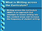 What is Writing across the Curriculum?