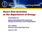 Smart Grid Activities at the Department of Energy