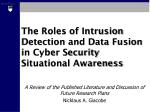 The Roles of Intrusion Detection and Data Fusion in Cyber Security Situational Awareness