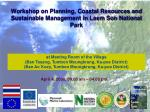 Workshop on Planning, Coastal Resources and Sustainable Management in Laem Son National Park