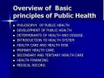 Overview of  Basic principles of Public Health