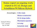 Status report on ongoing work related to ECAL Design and Scintillator/W/Silicon Hybrid