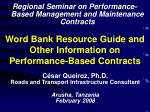 Word Bank Resource Guide and Other Information on Performance-Based Contracts