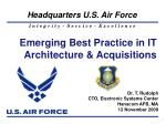 Emerging Best Practice in IT Architecture & Acquisitions