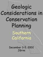 Geologic Considerations in Conservation Planning