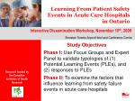 Learning From Patient Safety Events in Acute Care Hospitals in Ontario