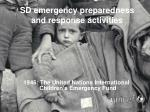 SD emergency preparedness and response activities