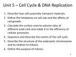 Unit 5 – Cell Cycle & DNA Replication