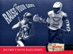 2012 BOY'S YOUTH RULES UPDATE