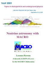 Lorenzo Perrone (University & INFN of Lecce) for the MACRO Collaboration