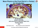 Muon Physics at the Front End of a  n  Factory An introduction