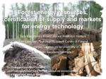 Forest energy resources, certification of supply and markets for energy technology
