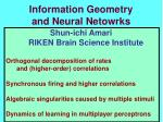 Information Geometry and Neural Netowrks
