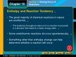 Enthalpy and Reaction Tendency
