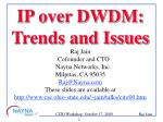 IP over DWDM: Trends and Issues