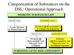 Categorization of Substances on the DSL: Operational Approach
