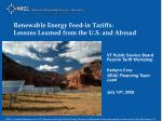 Renewable Energy Feed-in Tariffs:  Lessons Learned from the U.S. and Abroad