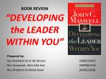 "BOOK REVIEW ""DEVELOPING the LEADER WITHIN YOU"""