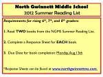 North Gwinnett Middle School 2012 Summer Reading List
