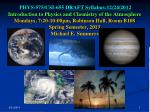 PHYS-575/CSI-655 Introduction to Physics and Chemistry of the Atmosphere