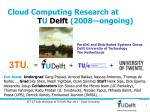 Cloud Computing Research at T U Delft (2008—ongoing)