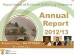 Presentation to the PCD&MV 15 October 2013