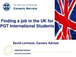 Finding a job in the UK for PGT International Students