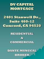 DV CAPITAL MORTGAGE 2401 Stanwell Dr., Suite 460-12 Concord, CA 94520