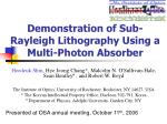 Demonstration of Sub-Rayleigh Lithography Using a Multi-Photon Absorber