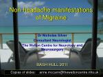 Non-headache manifestations of Migraine