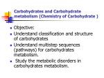 Carbohydrates and Carbohydrate metabolism (Chemistry of Carbohydrate )