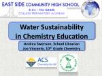 Water Sustainability in Chemistry Education