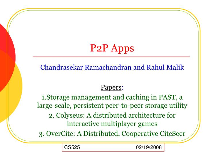 PPT - P2P Apps PowerPoint Presentation - ID:4657677