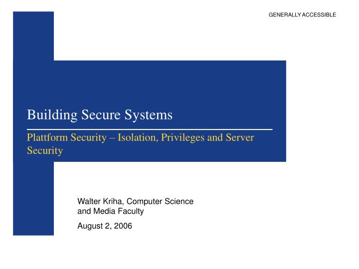 building secure systems n.