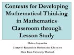 Contexts for Developing Mathematical Thinking in Mathematics Classroom through Lesson Study
