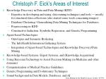 Christoph F. Eick's Areas of Interest