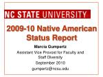 2009-10 Native American Status Report