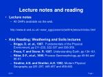 Lecture notes and reading